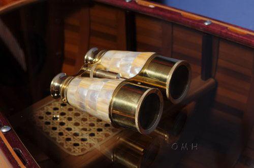 Binocular w MOP overlay in wood box by Old Modern Handicrafts