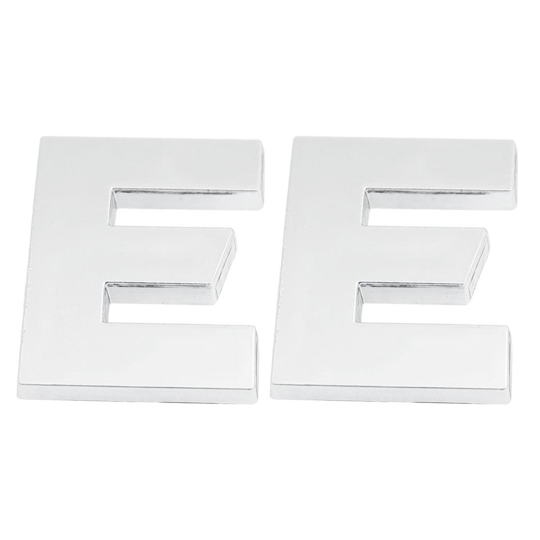 2 x Adhesive Plastic Letter E Cars 3D Emblem Badge Ornament Silver Tone