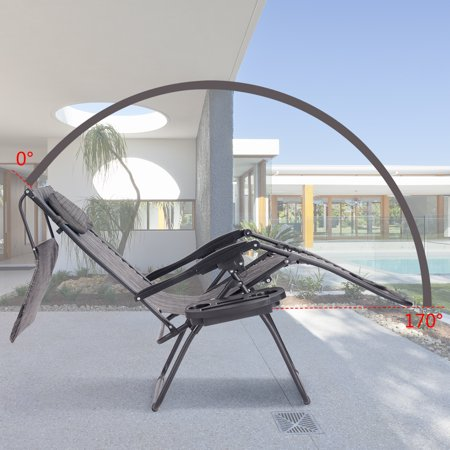 Gymax Folding Recliner Zero Gravity Lounge Chair W/ Shade Canopy Cup Holder Gray - image 9 of 10