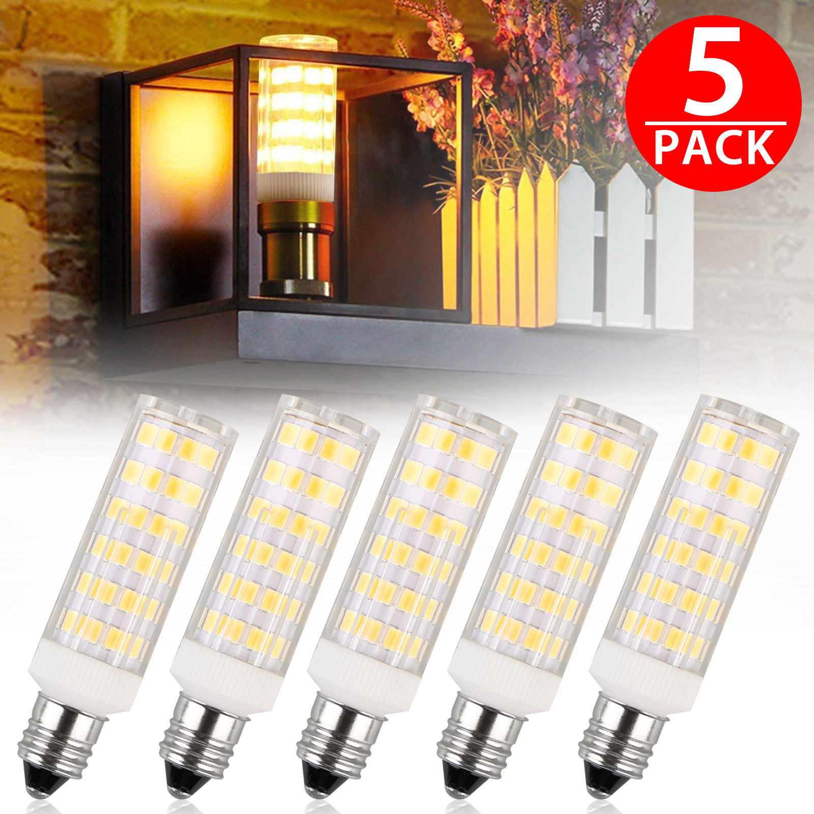 TSV E11 LED Bulb 50W 65W Halogen Bulbs Replacement,850 Lumens, Mini Candelabra Base 110V Input pack of 5
