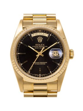 Pre-Owned Rolex Day-Date 18038 36mm Yellow Gold Black Index Automatic 1 Year Warranty