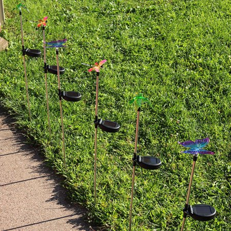 Sunnydaze Outdoor Solar Garden Lights, 6 Pack Solar Powered Stake LED Pathway Lights, Decorative Butterfly Dragonfly Hummingbird, (Butterfly Stake Light)