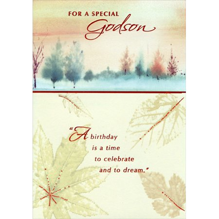 Designer Greetings Glossy Leaves And Textured Tree Line Godson Birthday Card