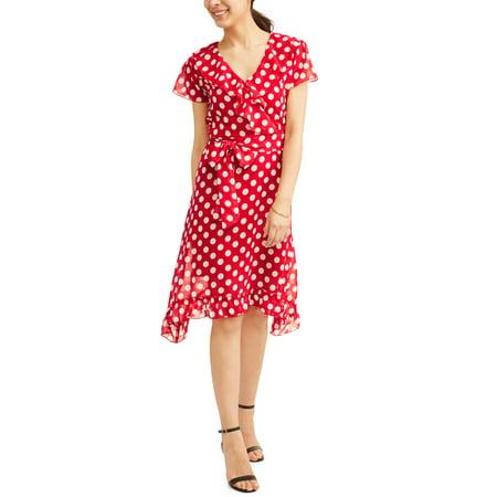 (Jaquline Design Studio Women's Ruffle Wrap Polka Dot Dress)