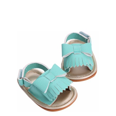 Summer Baby Toddler Girls Leather Tassel Crib Shoes Moccasins Sandals (12/6-12 Months, - Leather Girls Sandals