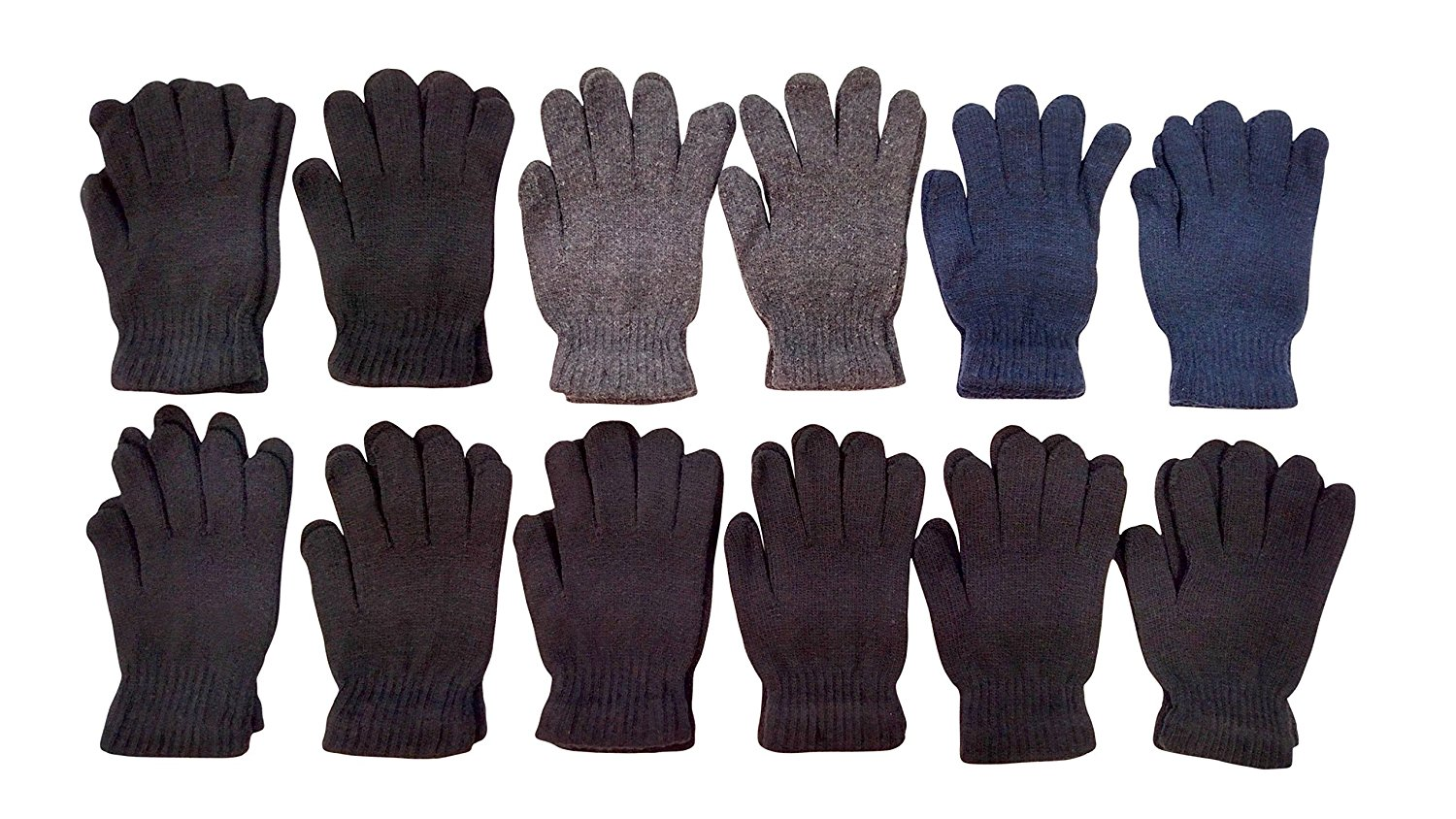 12 Pairs Of excell Solid Color Wool Gloves Mens Womens, Stretchy so One Size by