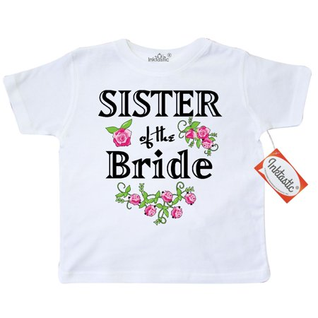 Inktastic Sister Of The Bride Roses Toddler T-Shirt Wedding Bridesmaid Flowers Bouquet Party Ceremony Nuptials Tees. Gift Child Preschooler Kid Clothing Apparel