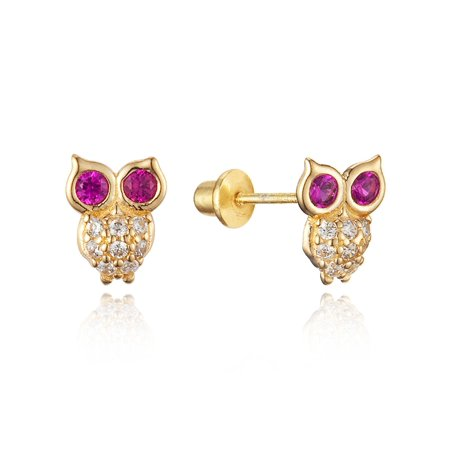 14k Gold Plated Brass Red Owl Cubic Zirconia Screwback Baby Girls Earrings with Sterling Silver Post (14k Gold Owl)