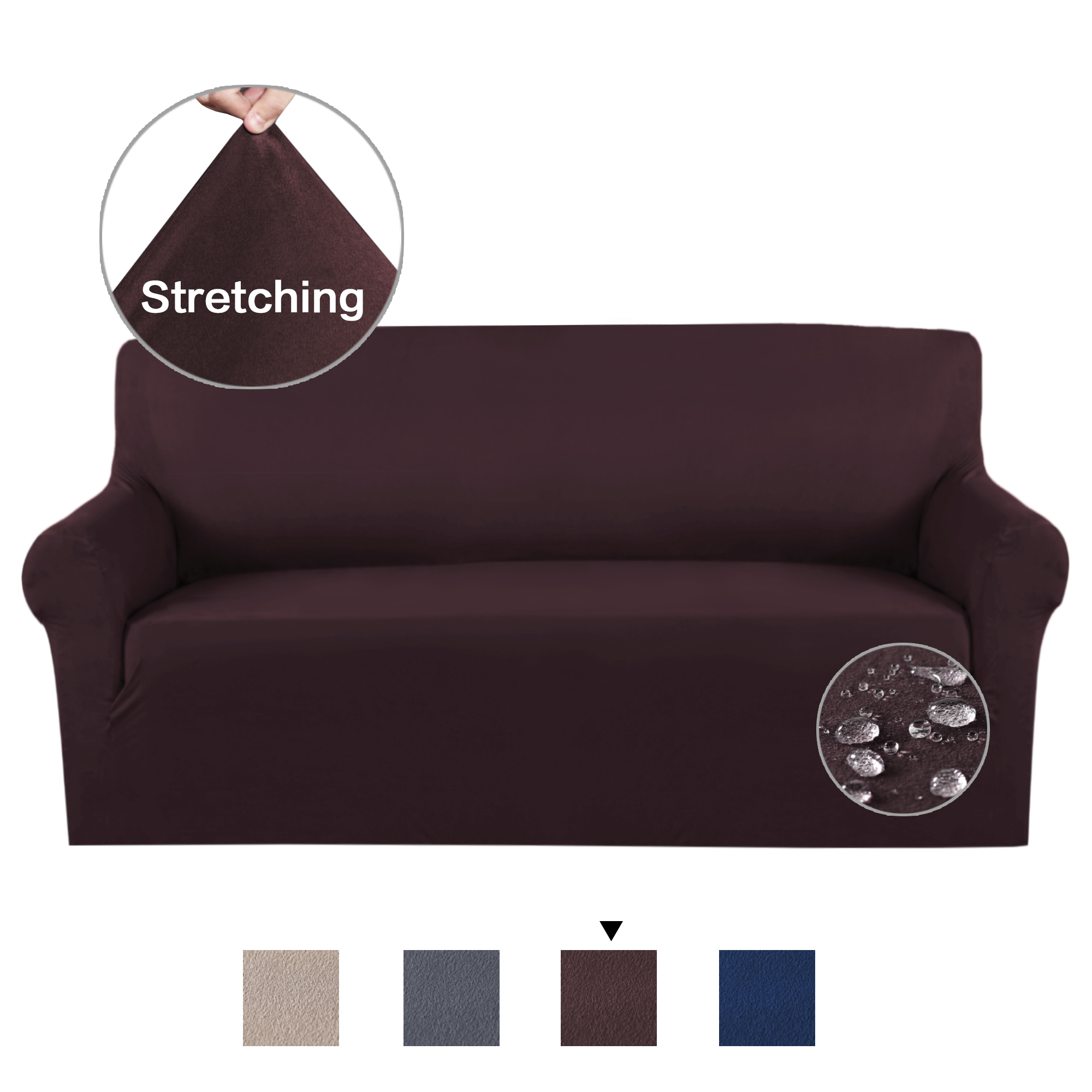 Luxurious Soft High Stretch Suede Sofa Slipcover Brown Couch Covers ...