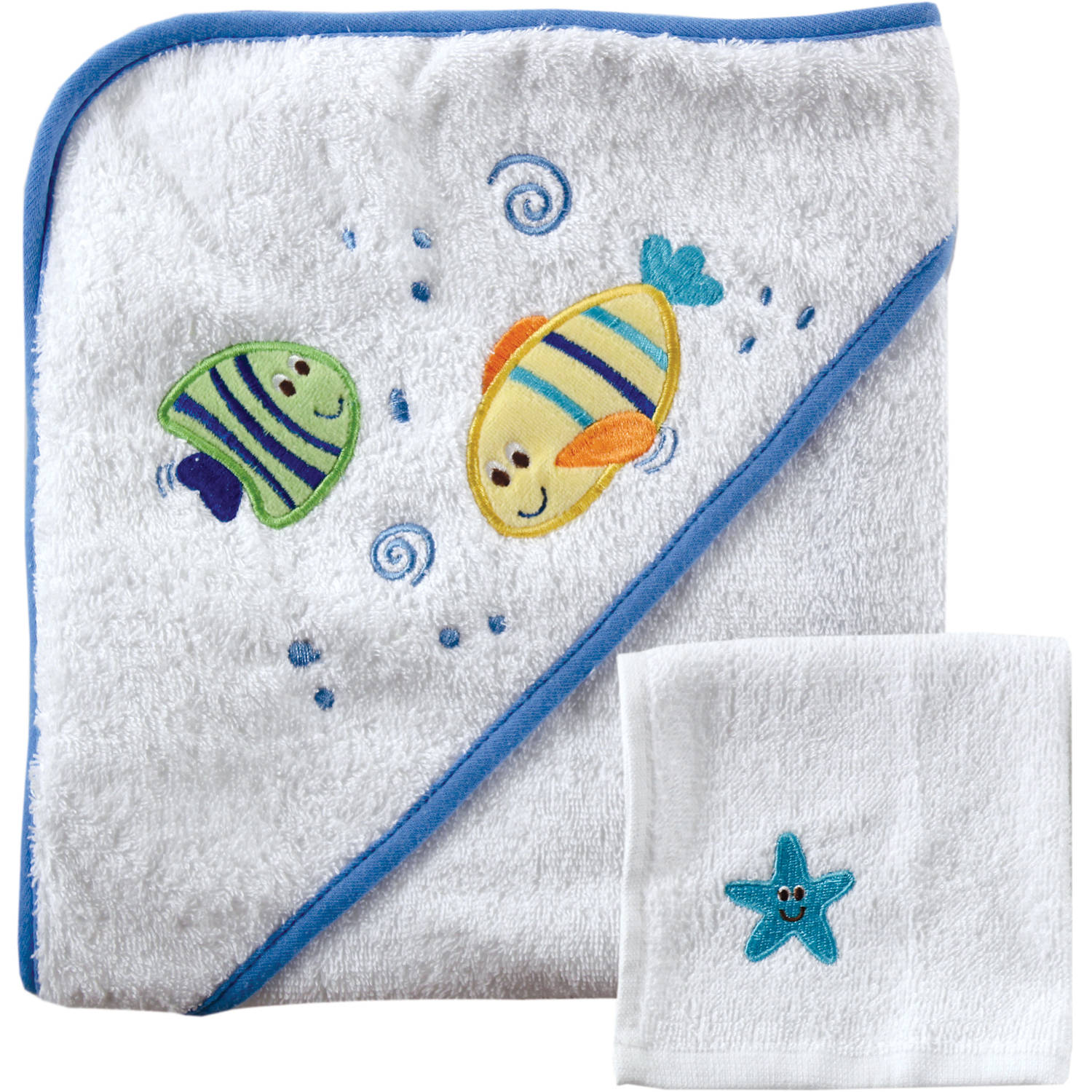 Luvable Friends Hooded Towel and Washcloth, Choose Your Color