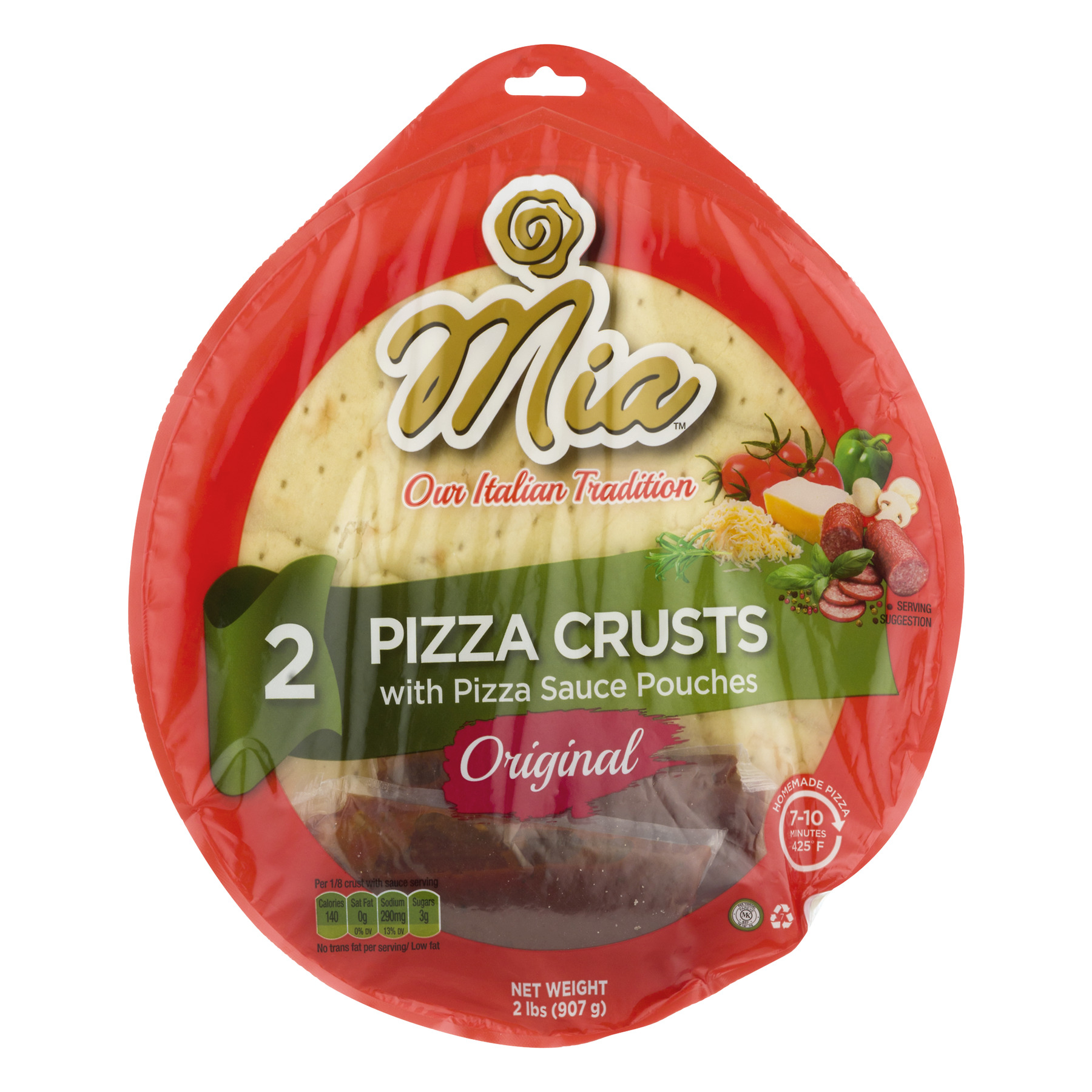 (2 Pack) Mia Pizza Crusts With Pizza Sauce Original, 2.0 CT