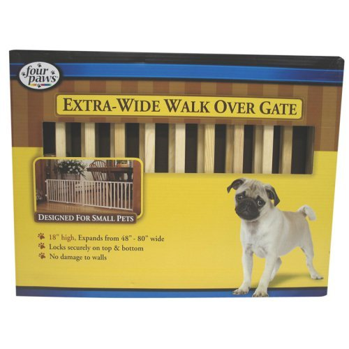 Four Paws Extra-Wide Walk-Over Wood Gate