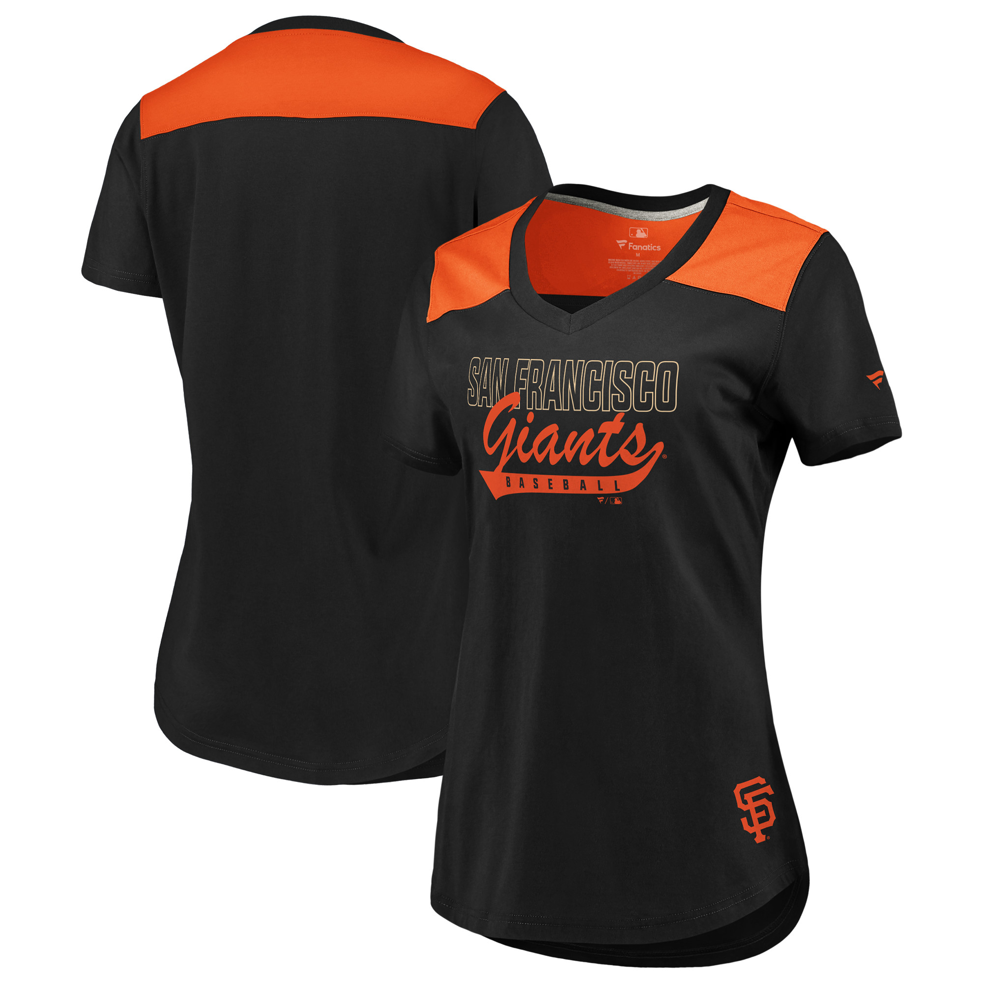 San Francisco Giants Fanatics Branded Women's Iconic V-Neck T-Shirt - Black/Orange