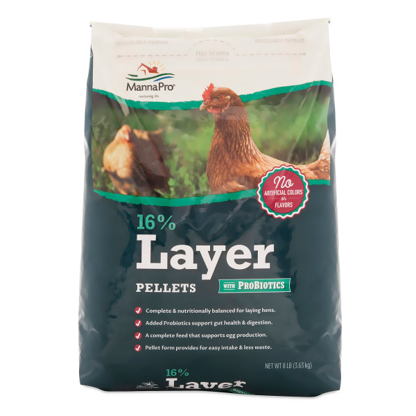 Manna Pro Poultry Feed 16% Layer PelLet with Probiotic, 8 lbs.