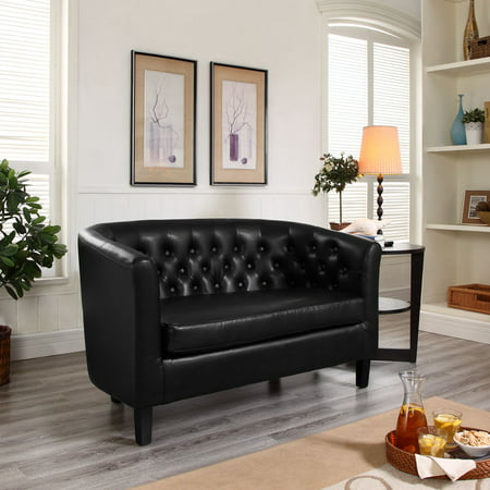 Brilliant Modway Prospect Tufted Leatherette Loveseat Black Gamerscity Chair Design For Home Gamerscityorg