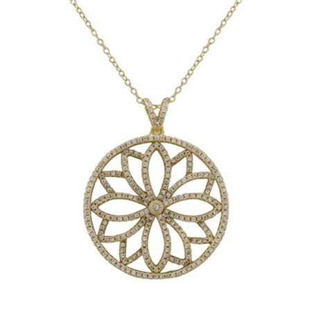 Dlux Jewels Gold Plated Sterling Silver 30 mm Round Flower Design Cubic Zirconia Pendant, 1.46 in. - image 1 of 1