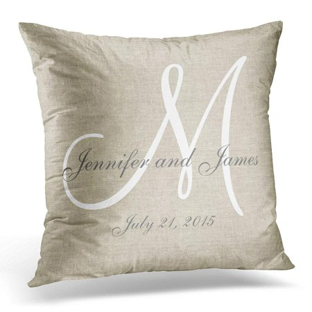 ARTJIA Letters Beige Linen Gray White Monogram Wedding Initials Pillowcase Cover 16x16 inch