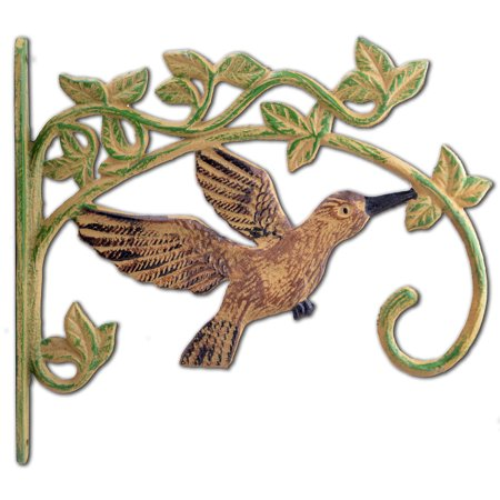 Patio Plant Hangers (Cast Iron Plant Hanger Hook - Antiqued Brown Flying Hummingbird - 11.25