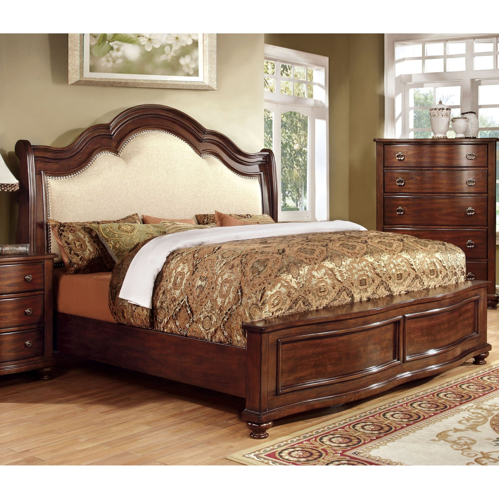 Furniture of America Meveena Sleigh Bed with Low Footboard