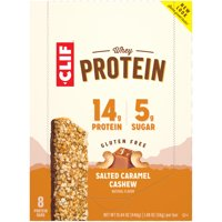 CLIF Whey Protein Snack Bars, Salted Caramel Cashew, 8 Ct, 1.98 oz (Packaging and Formula May Vary)