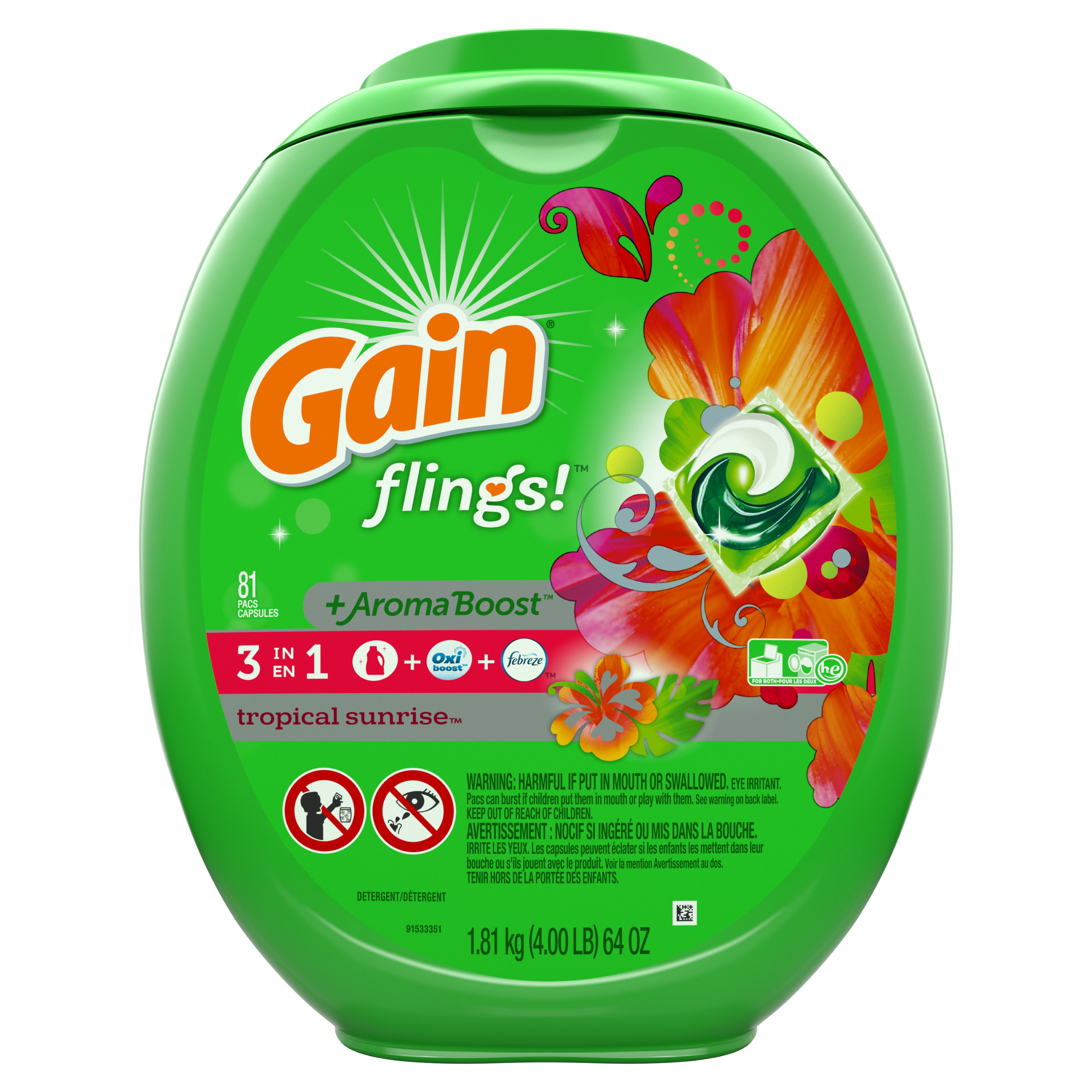 Gain Flings! +AromaBoost Laundry Detergent Pacs, Tropical Sunrise, 81 Count