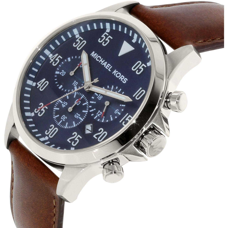 ce32ece6c2be Michael Kors - Men's Gage Chronograph Brown Leather Strap Watch MK8362 -  Walmart.com