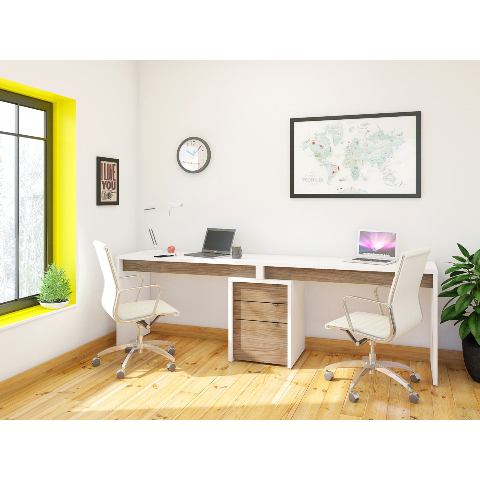 Nexera Liber-T 2 Person Desk with Filing Cabinet - White and Espresso