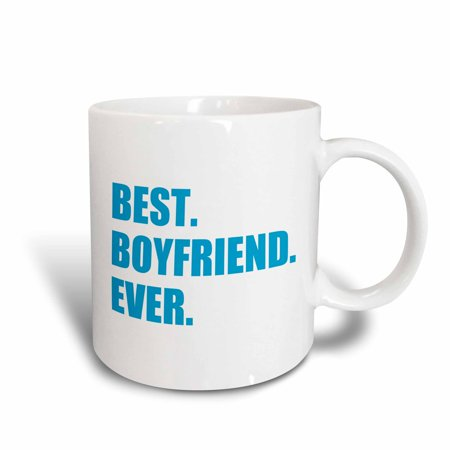 3dRose Blue Best Boyfriend Ever text anniversary valentines day gift for him, Ceramic Mug,