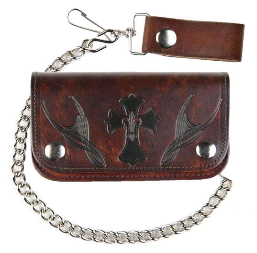 Biker Men's Wallet 6 in Cross w/ Fleur De Lys Antique Genuine Leather with Chain