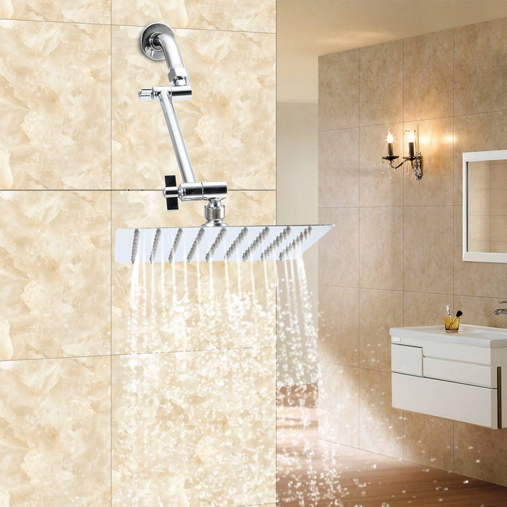 HotelSpa 8-Inch Stainless Steel Square Rainfall Shower Head with Extension Arm