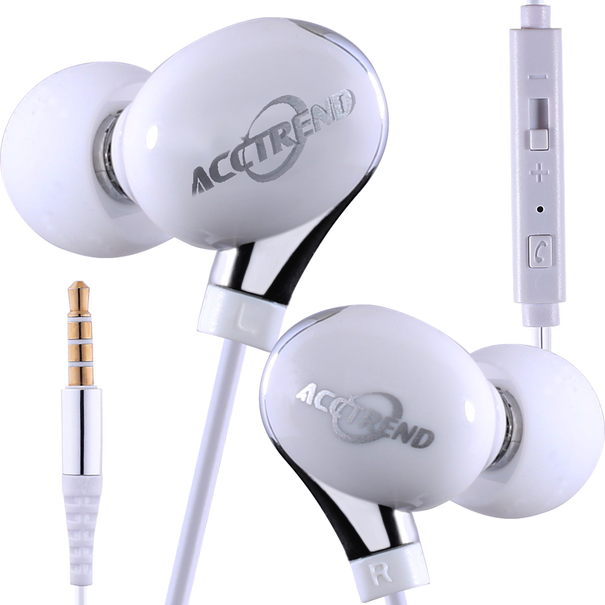 New In-Ear Buds Bass Earphones Headphones w/Mic for Smartphones 3.5mm, White