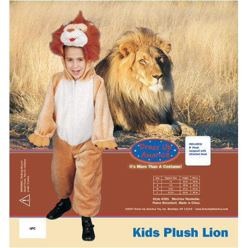 Dress Up America 381-L Kids Plush Roaring Lion Costume - Size Large 12-14