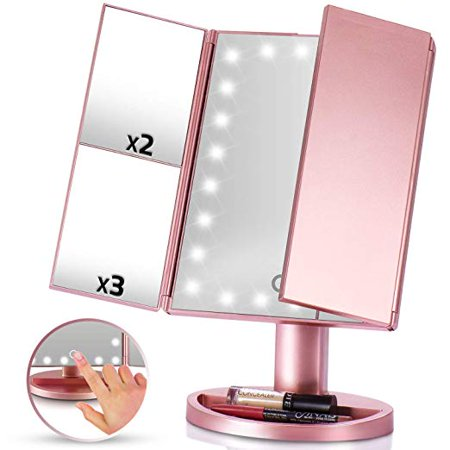 LED Vanity Mirror 1x 2x 3x Magnification Tri Fold Makeup Cost Cosmetics Touch Screen Power High Powered Lights USB Charging Portable Compact