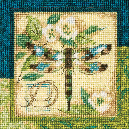 "Dragonfly Mini Needlepoint Kit, 5"" x 5"" Stitched In Thread"