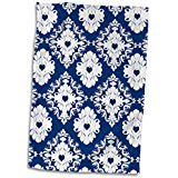3D Rose Navy Hearts Blue White Damask Hand Sports Towel 15 x 22 Damask Guest Towel
