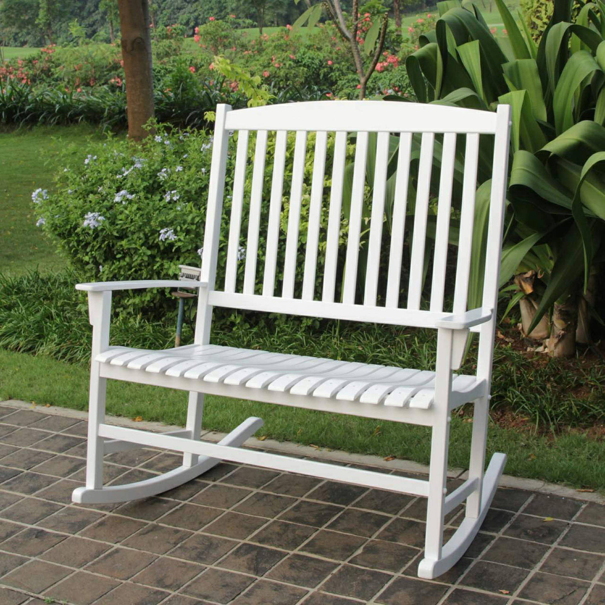 Mainstays Outdoor Double Rocking Chair White Solid Hardwood Wide Seat Seats 2
