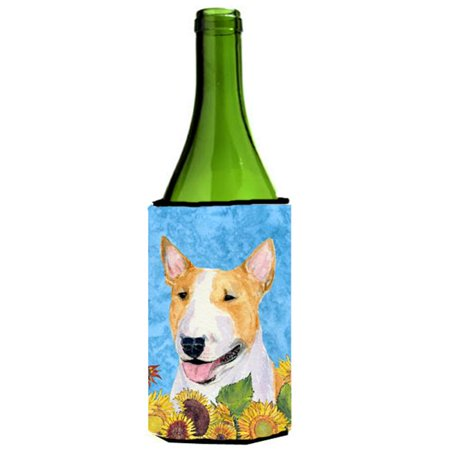 Bull Terrier In Summer Flowers Wine bottle sleeve Hugger - 24 oz. - image 1 de 1