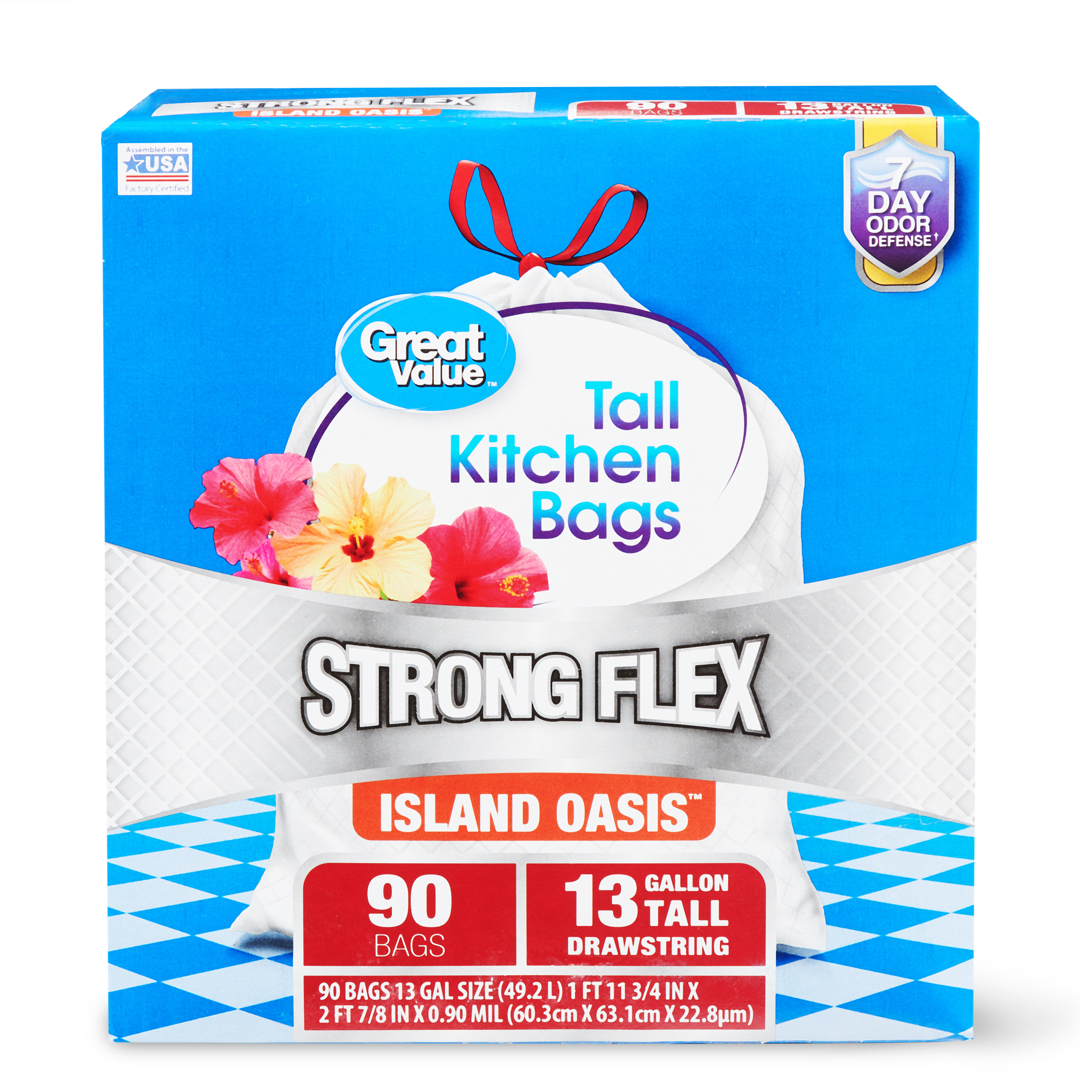 Great Value Strong Flex Tall Kitchen Drawstring Trash Bags, Island Oasis, 13 Gallon, 90 Count