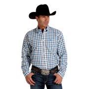Cinch Western Shirt Mens L/S Button Weave Logo White Blue MTW1104282