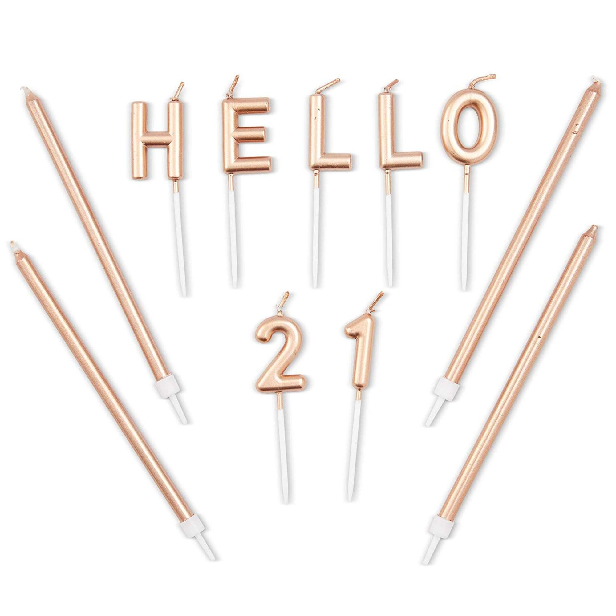 31 Count Rose Gold Long Thin 21th Birthday Cake Candles ...