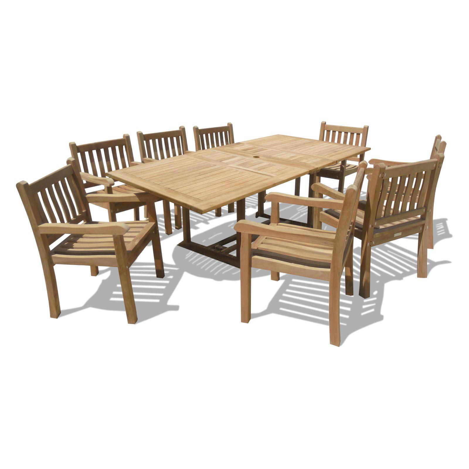 Windsor Teak Furniture Premium Teak 9 Piece Outdoor Dining Room Set by Windsor Teak Furniture