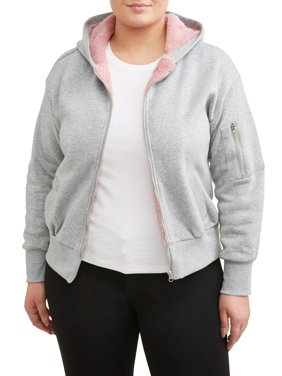 d7ee34d0ef0e0 Product Image Women s Plus Size Fleece Lined Hoodie Bomber Jacket