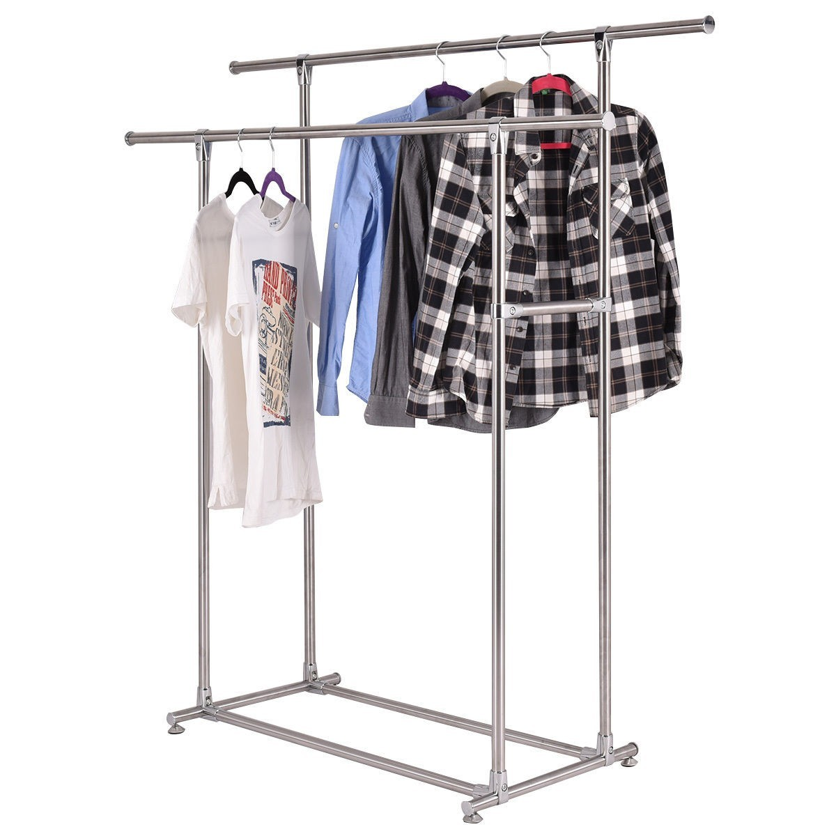 Heavy Duty Stainless Steel Double Rail Garment Rack Clothes Drying Hanger