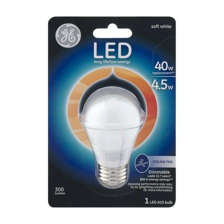 GE LED A15 Long Life/Low Energy 40W Ceiling Fan Bulb, 1.0 CT