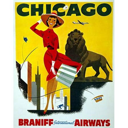 Chicago Braniff International Airways Travel Canvas Art - (36 x 54)