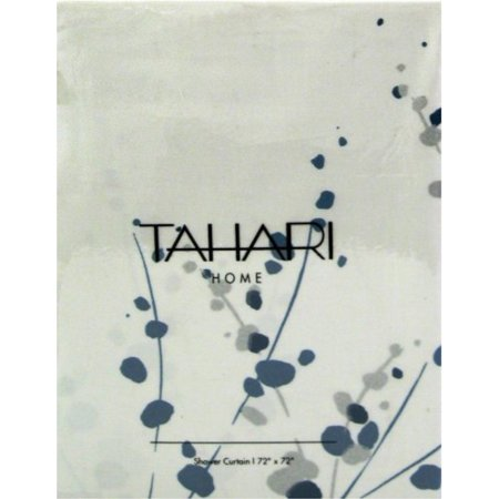 Tahari Home Shower Curtain Sprigs In Blue And Silver