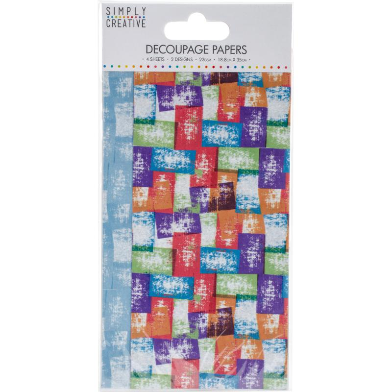 Simply Creative Decoupage Paper 18.8cmx35cm 4/pkg-coloured Blocks