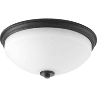 "Progress Lighting P3423 Replay 2 Light 14"" Wide Flush Mount Bowl Ceiling Fixture with Etched Outside And Painted White Inside Glass Shade"