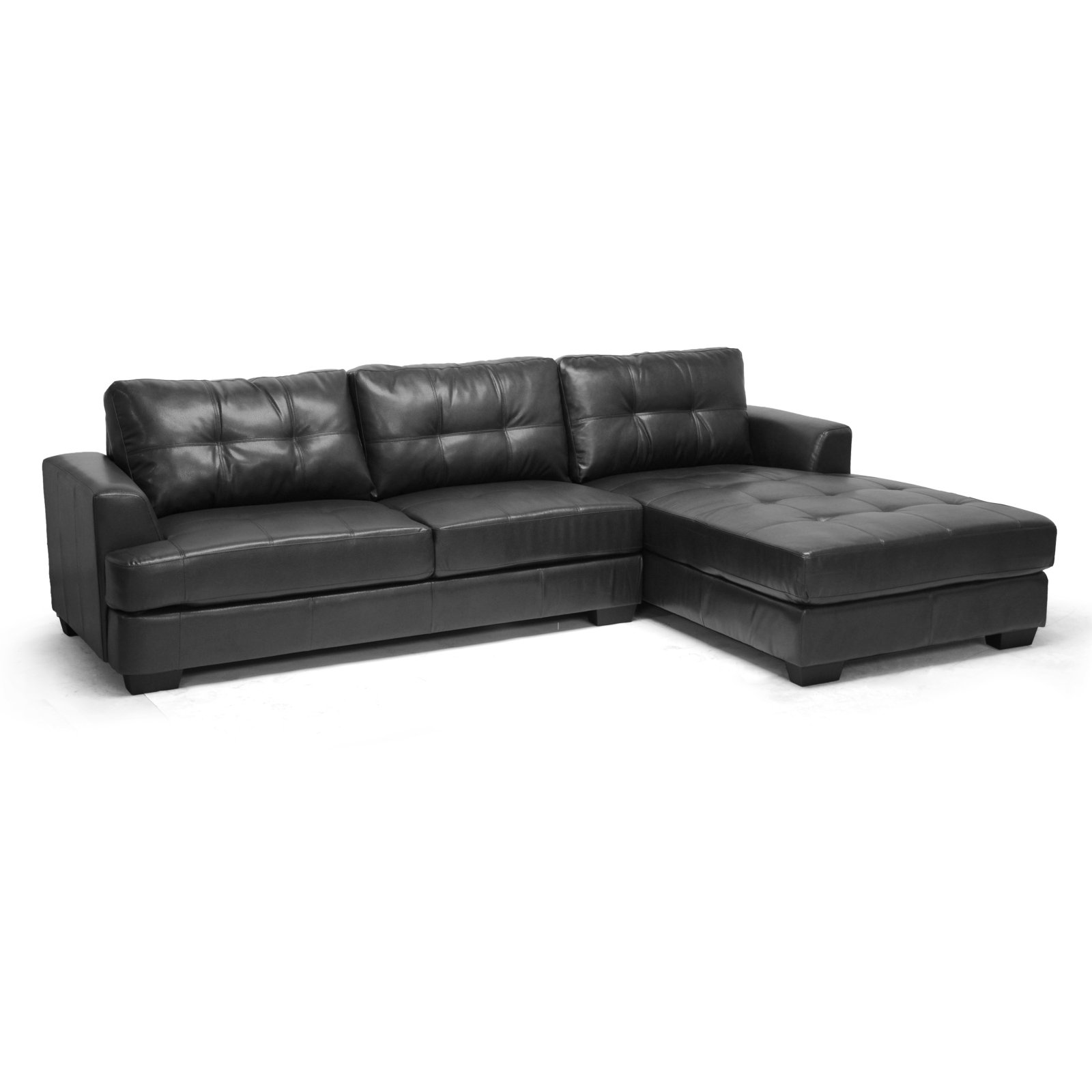 Baxton Studio Dobson Black Leather Modern Sectional Sofa Walmart