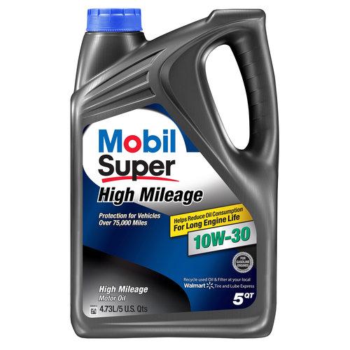 Mobil Super 10W-30 High Mileage Motor Oil, 5 qt.